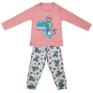 ست تی شرت و شلوار پسرانه طرح دایناسور کد 3274 رنگ صورتی