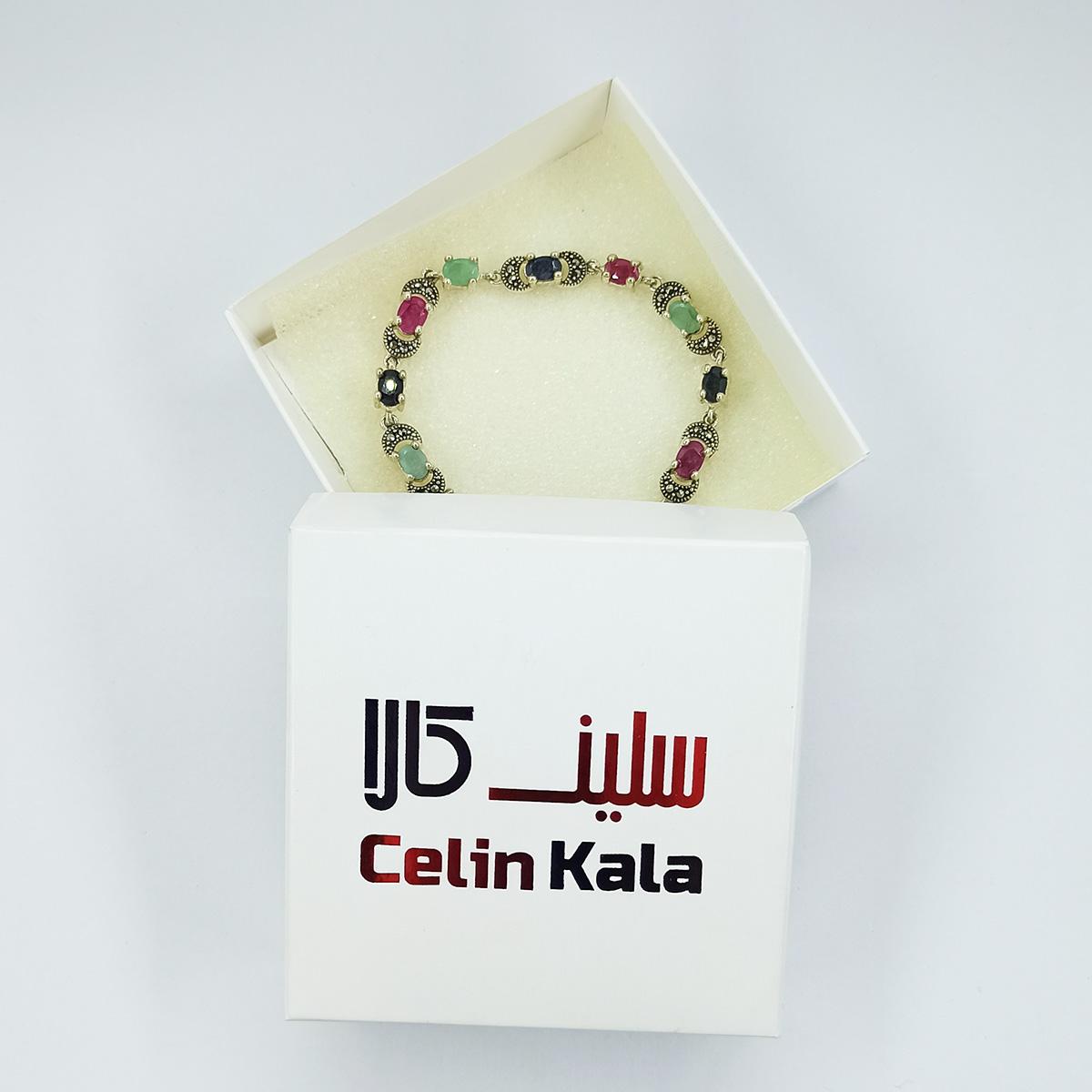 دستبند نقره زنانه سلین کالا مدل یاقوت و زمرد ce-As114