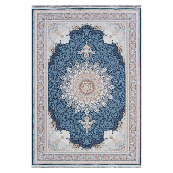 فرش ماشینی شاهکار مشهد مدل فراهان کد 68699 زمینه سورمه ای