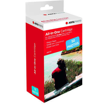 کاغذ چاپ عکس گلاسه آگفافوتو مدل AMC50 Realipix Mini P and Mini S سایز 54x86 میلی متر  بسته 50عددی