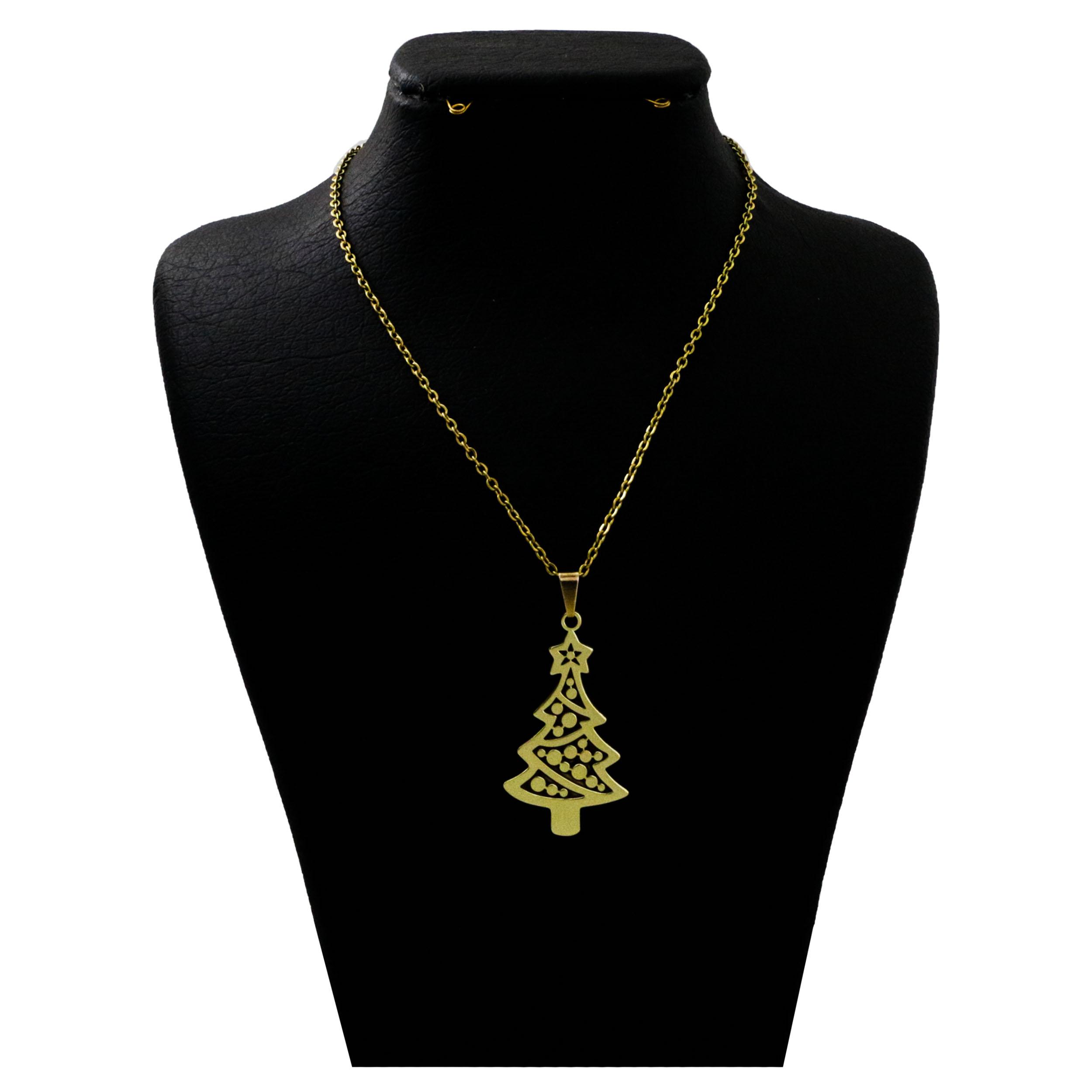 گردنبند نقره زنانه  مدل دلی جم طرح درخت کریسمس  کد D 413