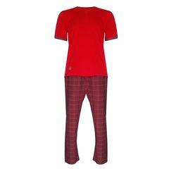 ست تی شرت و شلوار لباس خونه مردانه مدل 23 کد 991101  رنگ قرمز