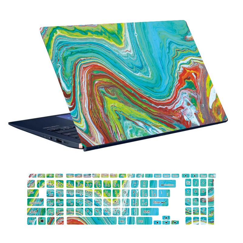 استیکر لپ تاپ توییجین و موییجین طرح Colorful کد 66 مناسب برای لپ تاپ 15.6 اینچ به همراه برچسب حروف فارسی کیبورد