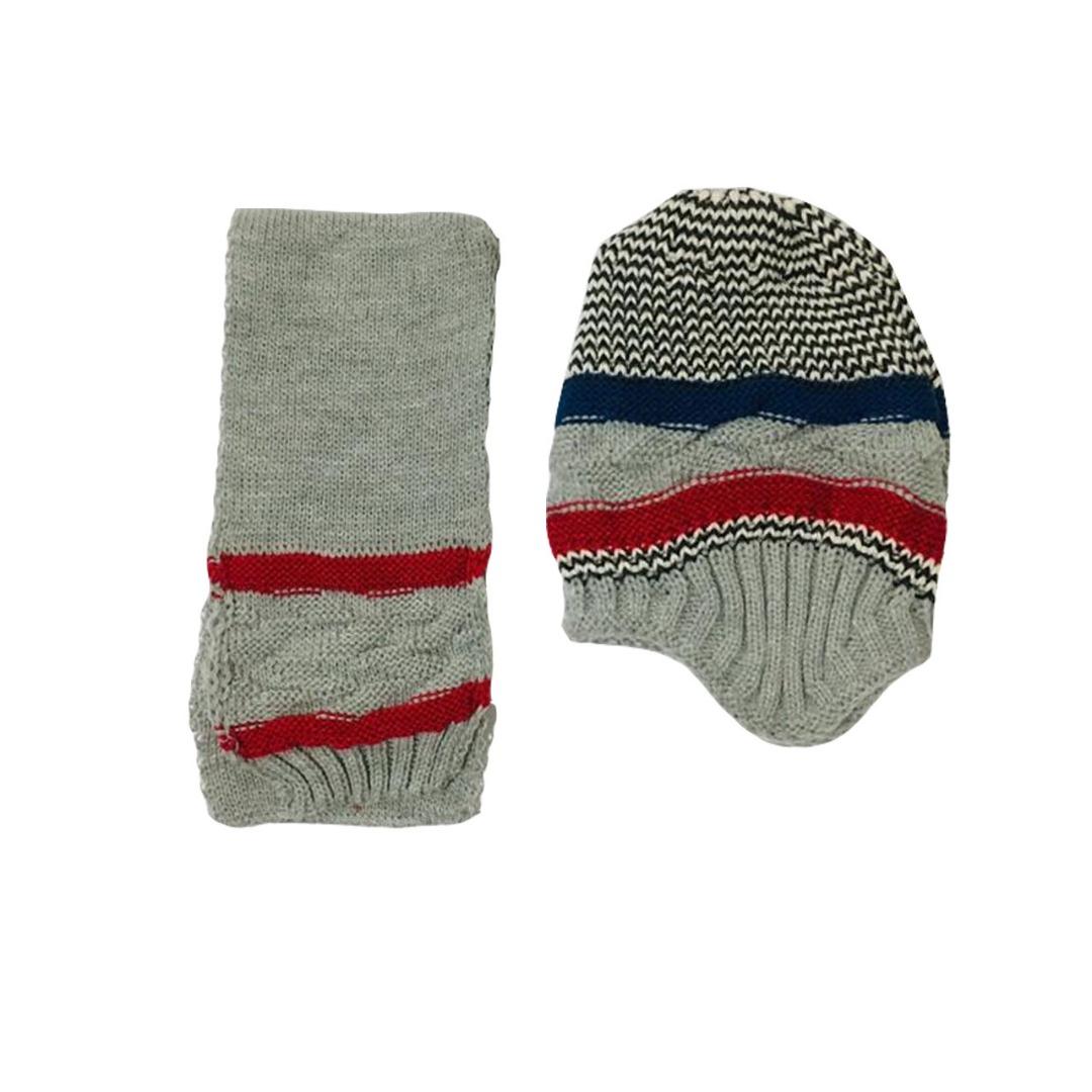 ست کلاه و شال گردن بافتنی پسرانه کد 03