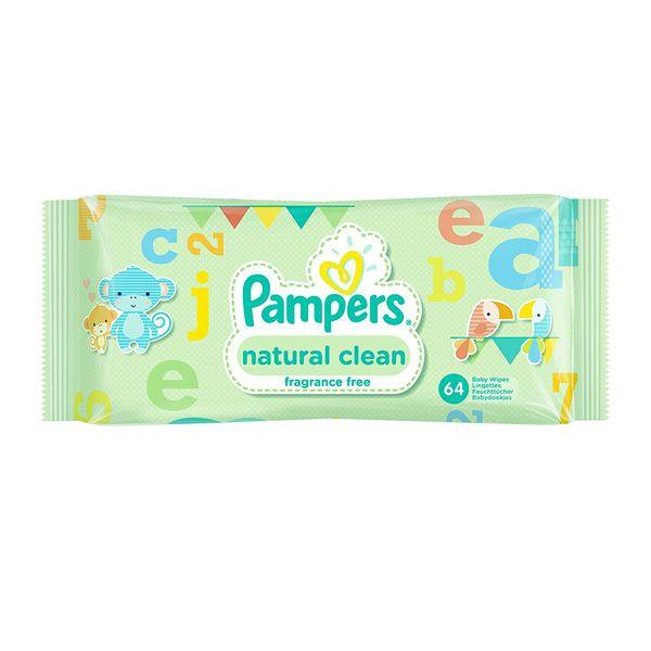 دستمال مرطوب کودک پمپرزمدل natural clean بسته ۶۴ عددی