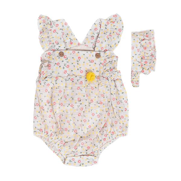 ست پیراهن و هدبند نوزادی فیورلا مدل 21004