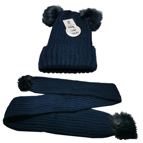 ست کلاه و شال گردن بافتنی بچگانه مدل gald02