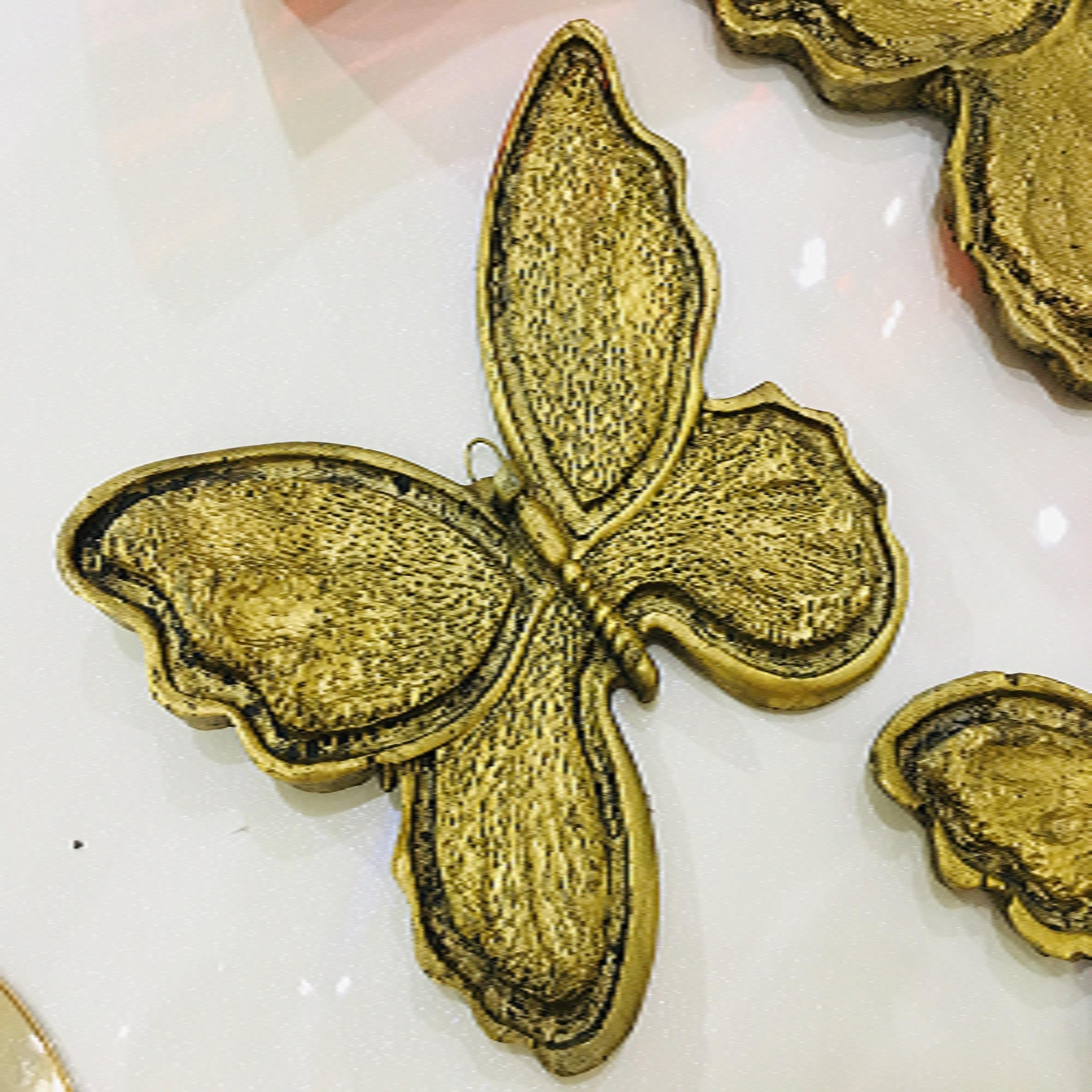 دیوارکوب تزئینی  طرح پروانه  مدل 526 مجموعه سه تایی