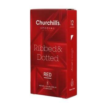 کاندوم چرچیلز مدل Ribbed & Dotted بسته 12 عددی