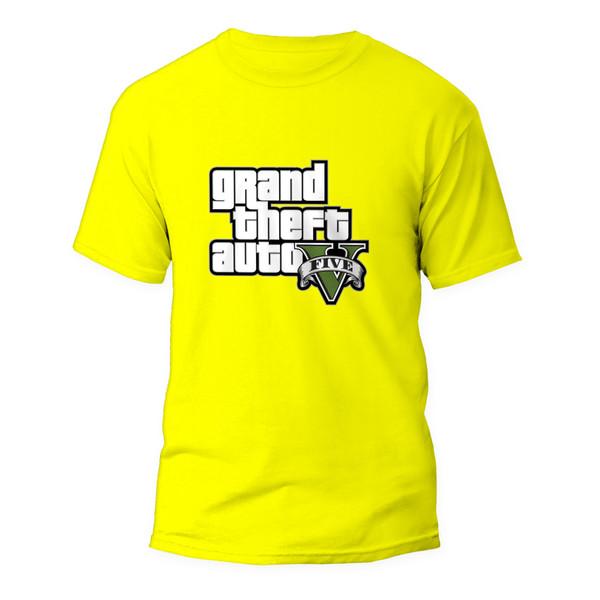 تیشرت آستین کوتاه مردانه مدل بازی جی تی ای کد ART-0902-Y رنگ زرد