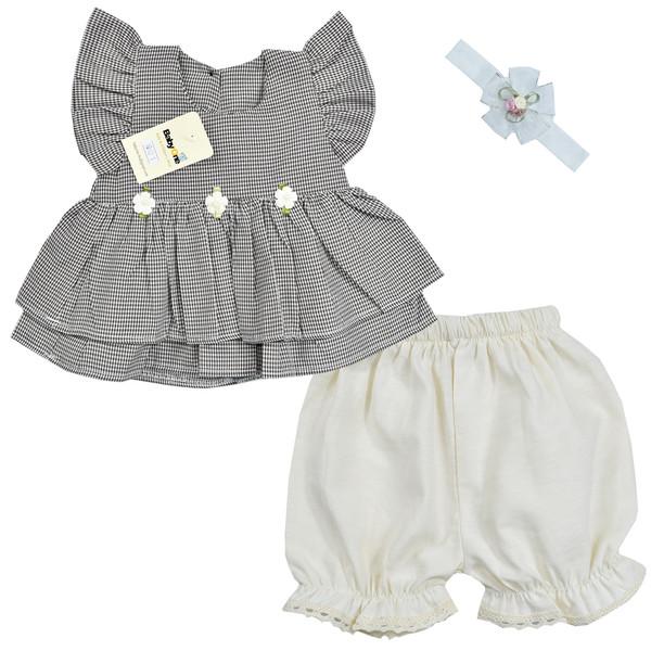 ست 3 تکه لباس نوزادی بی بی وان مدل شکوفه