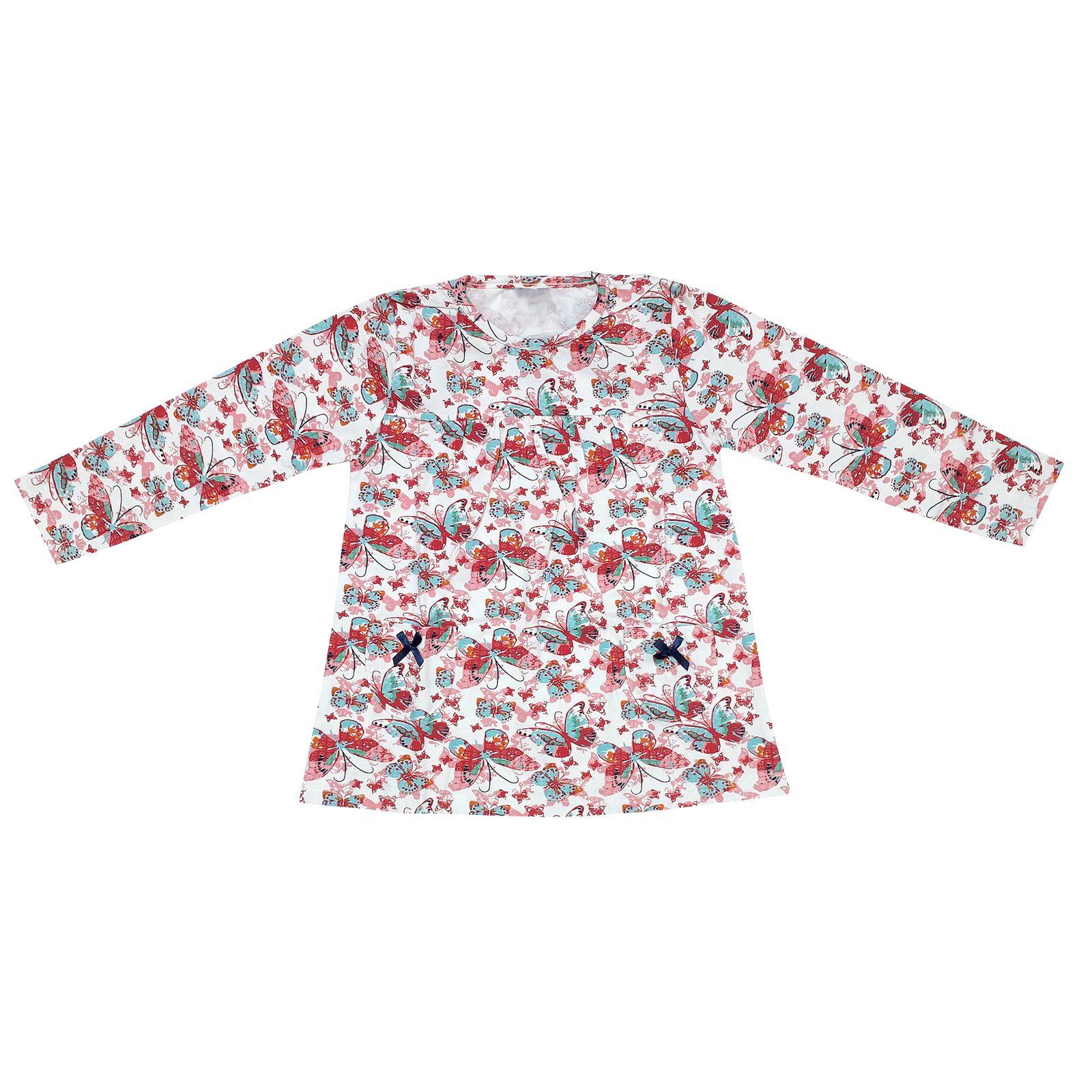 ست تی شرت و شلوار دخترانه طرح پروانه کد 3072 رنگ سفید -  - 5