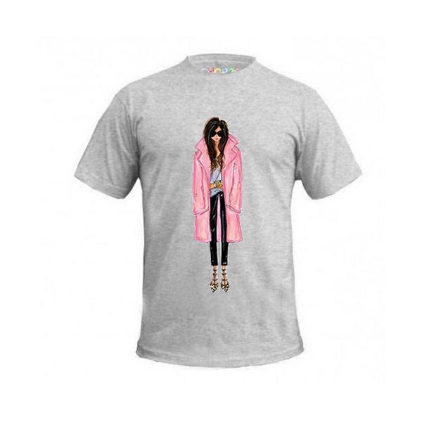 تی شرت آستین کوتاه زنانه چاپ سی مدل AT کد 02mg