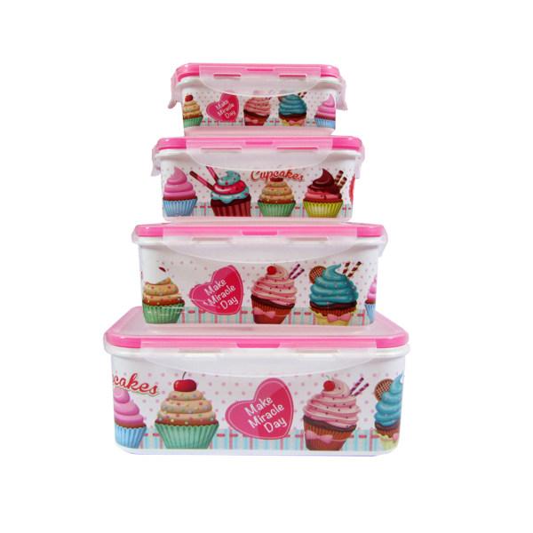 ظرف نگهدارنده فرش کیپس طرح کیک مجموعه 4 عددی