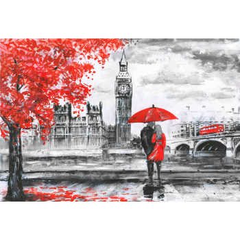 تابلو شاسی طرح خیابان لندن رودخانه و اتوبوس روی پل برج ساعت بیگ بن زن و مرد زیر چتر قرمز مدل T1012