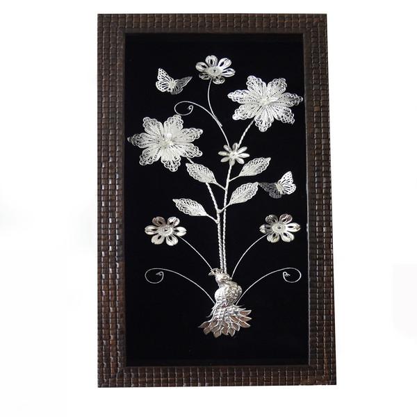 تابلو طرح گل نقره مدل سوفیا