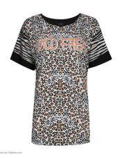 تی شرت آستین کوتاه زنانه فمیلی ور طرح پلنگی کد 172 رنگ مشکی -  - 2
