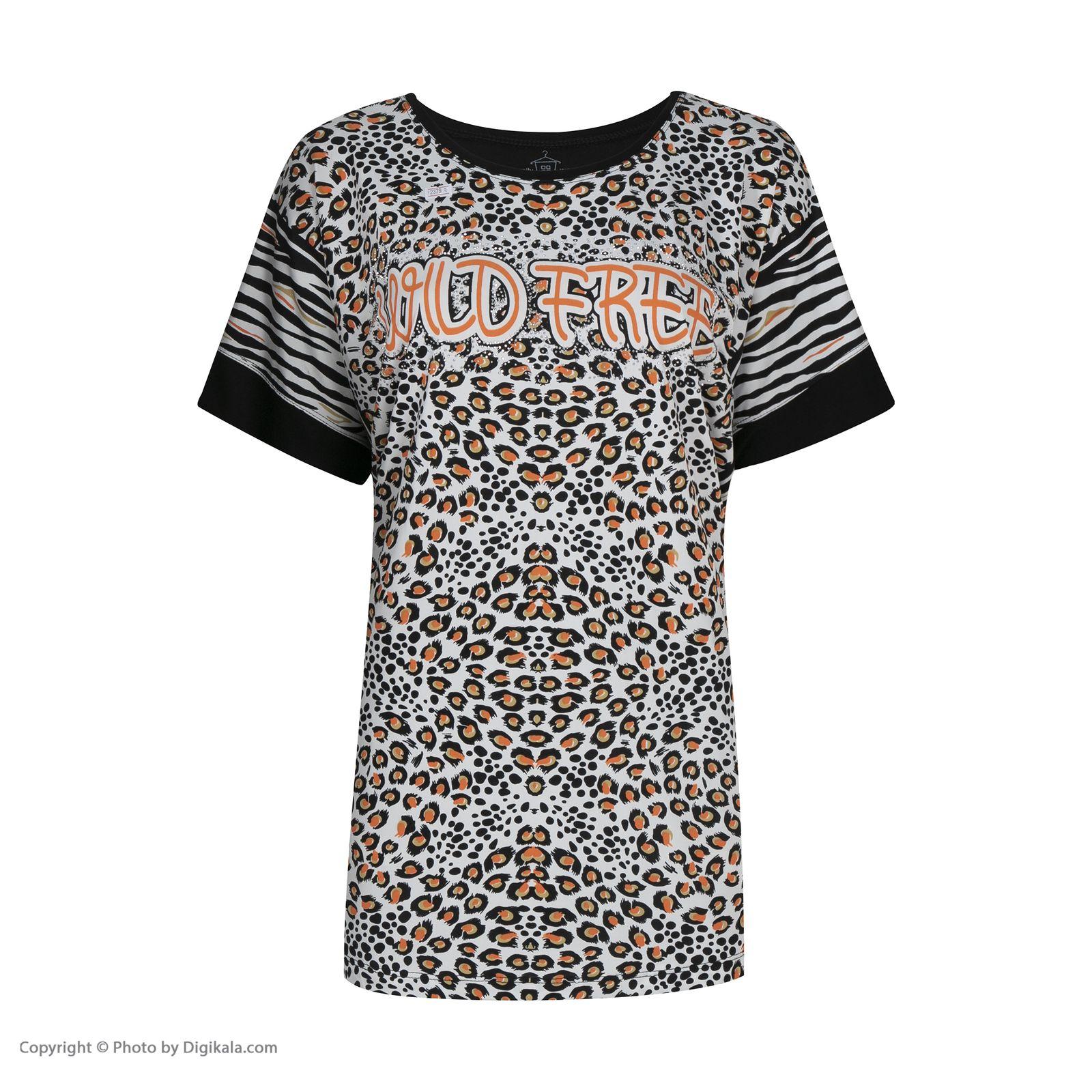تی شرت آستین کوتاه زنانه فمیلی ور طرح پلنگی کد 172 رنگ مشکی -  - 3