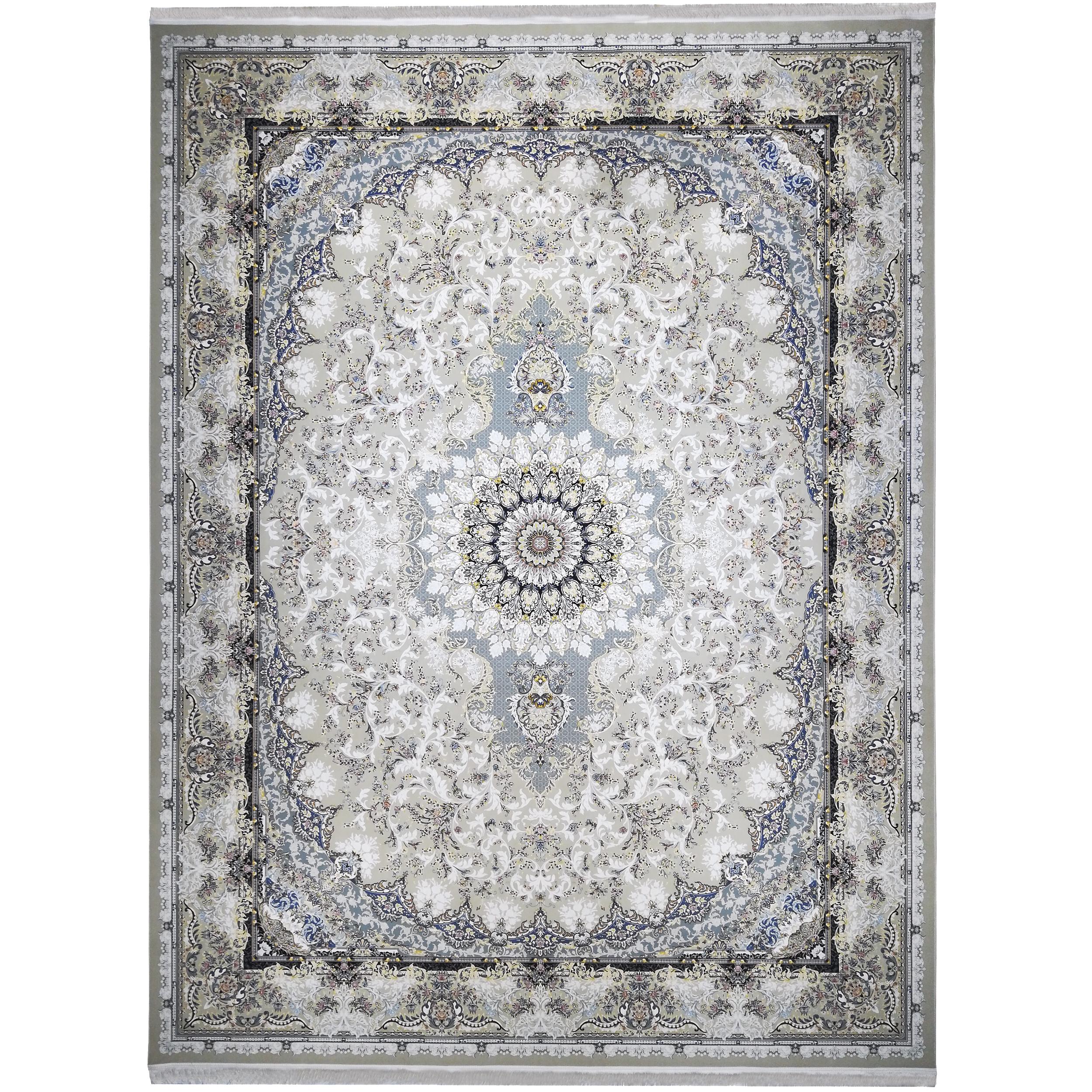فرش ماشینی فرش مارکت تریتا طرح تبسم کد fm1500 40 زمینه ترمه ای
