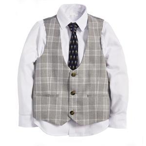 ست 3 تکه لباس پسرانه نکست مدل Check Waistcoat