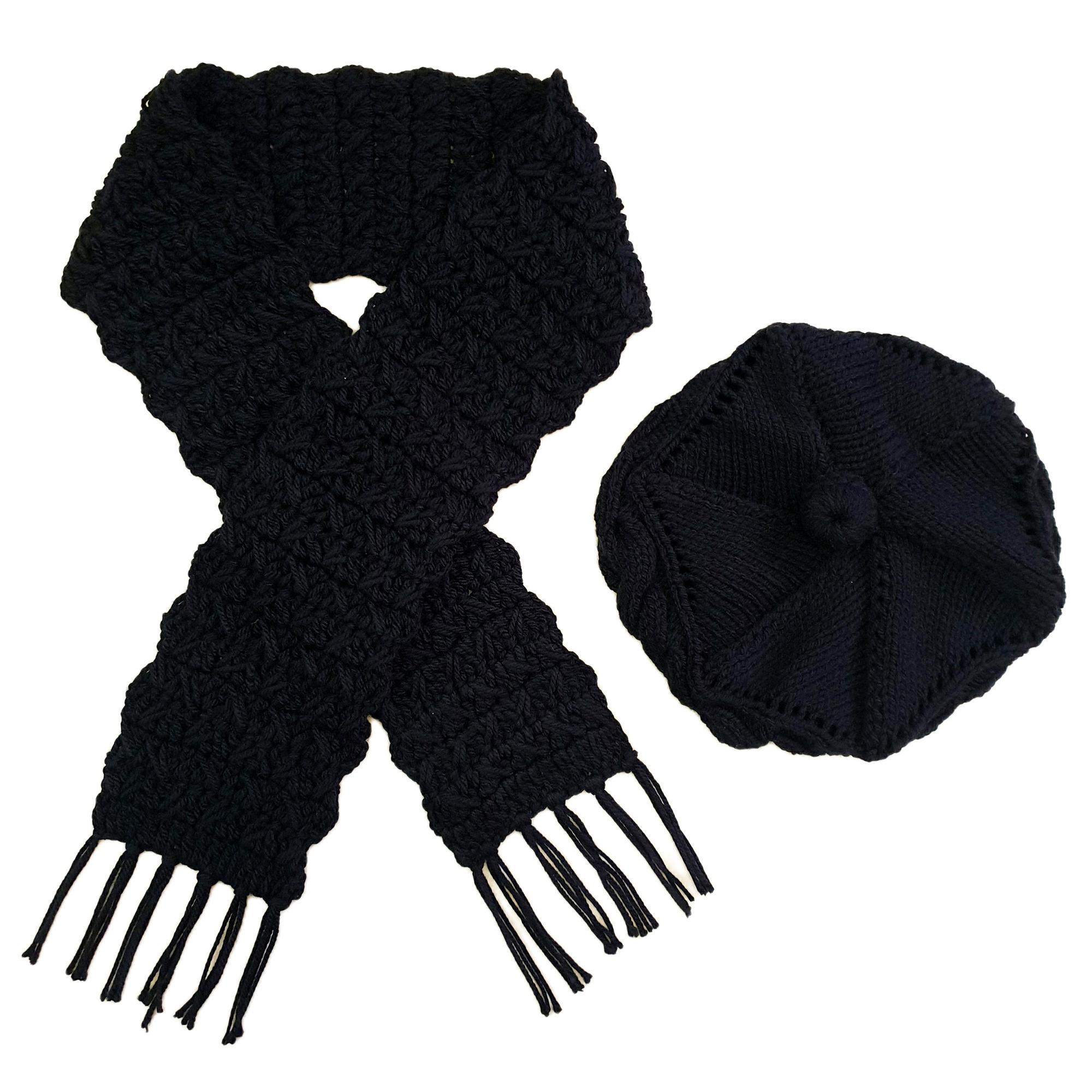 ست كلاه و شال گردن بافتنی زنانه كد SHB3-BL