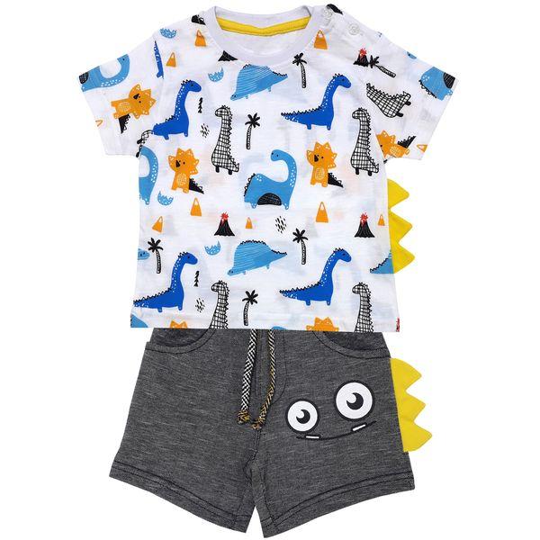 ست تی شرت و شلوارک پسرانه طرح دایناسور کد 2040