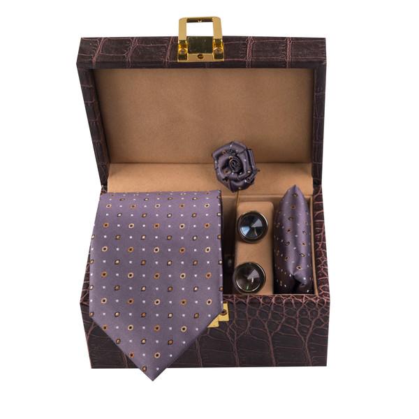 ست کراوات و دستمال جیب و گل کت و دکمه سردست مردانه جیان فرانکو روسی مدل GF-PO1170-GR