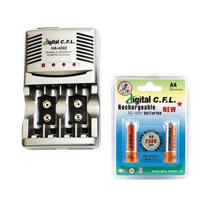 شارژر باتری دیجیتال سی.اف.ال مدل HA-4302 به همراه بسته 2 عددی باتری قلمی شارژی C.F.L 2500mAh