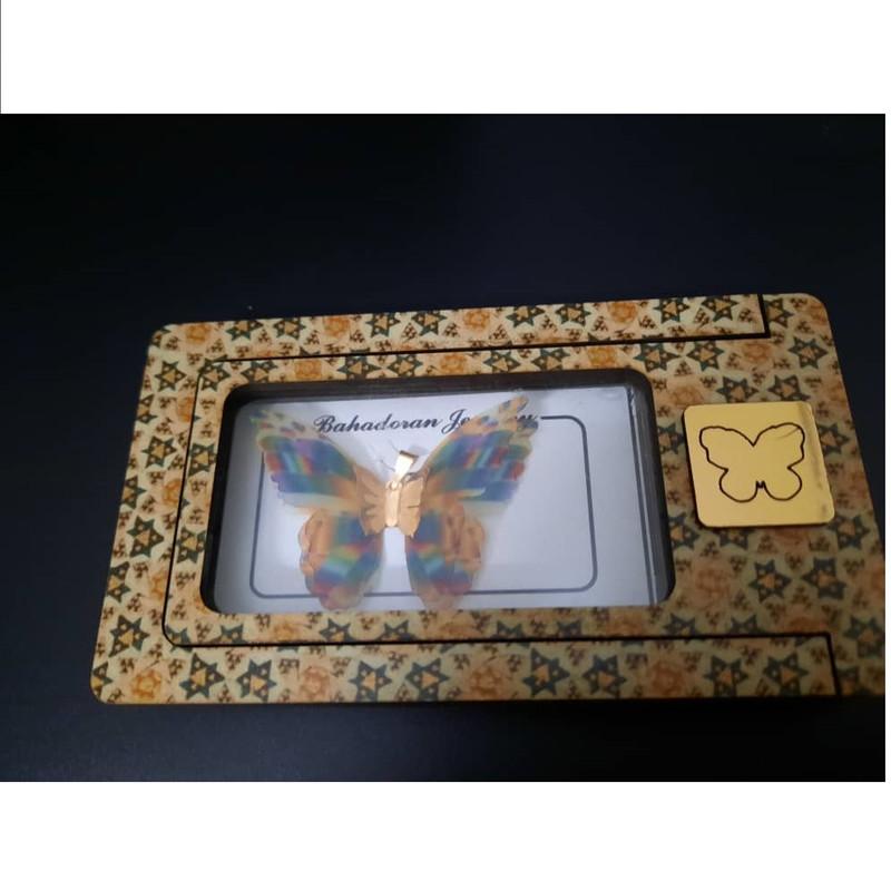 آویز گردنبند طلا 18 عیار زنانه گالری یار طلا مدل پروانه کد AP08