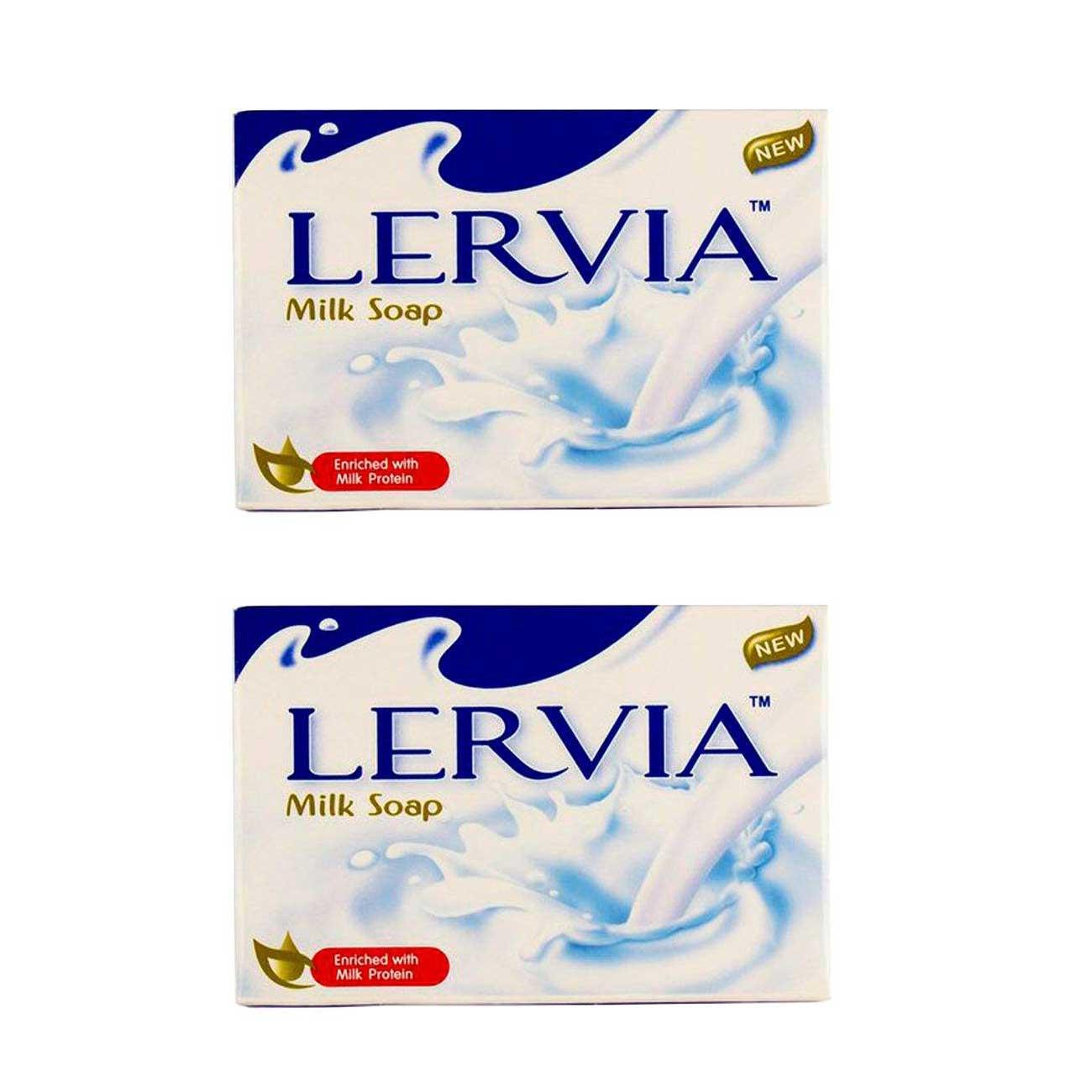 صابون سفید کننده و روشن کننده لرویا مدل شیری وزن 90 گرم بسته 2 عددی