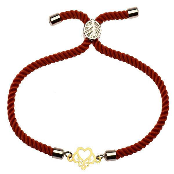 دستبند طلا 18 عیار دخترانه کرابو طرح قلب مدل Krd1116