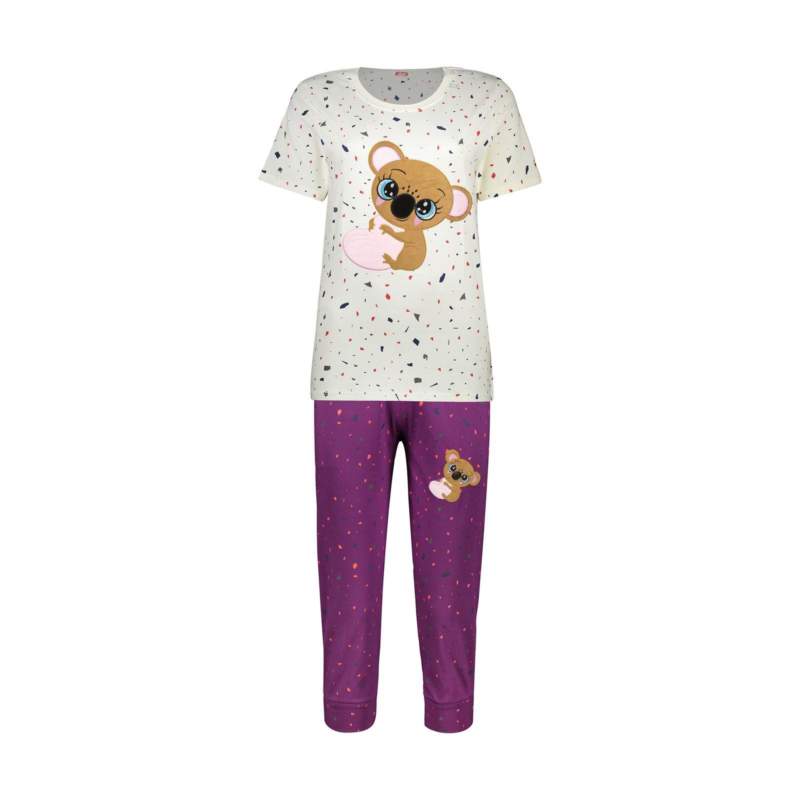 ست تی شرت و شلوارک راحتی زنانه مادر مدل 2041103-67 -  - 2