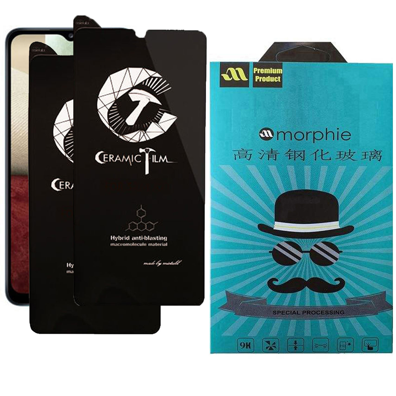 محافظ صفحه نمایش سرامیکی مورفی مدل MEIC_2 مناسب برای گوشی موبایل سامسونگ Galaxy A12 بسته 2 عددی
