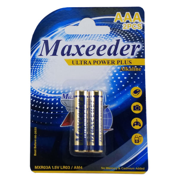 باطری نیم قلمی آلکالاین مکسیدر مدل MXR03A بسته دو عددی