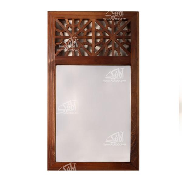 آینه چوبی گره چینی  رنگ قهوه ای طرح سنتی مدل 1509700005