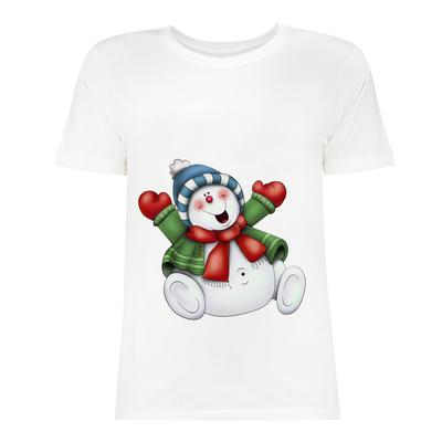 تی شرت زنانه طرح آدم برفی کد f510k