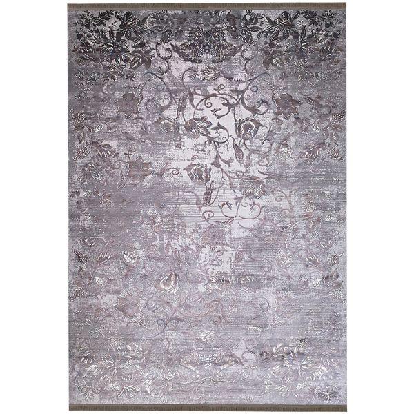 فرش ماشینی زمرد مشهد طرح پتینه کد TA116 زمینه طوسی
