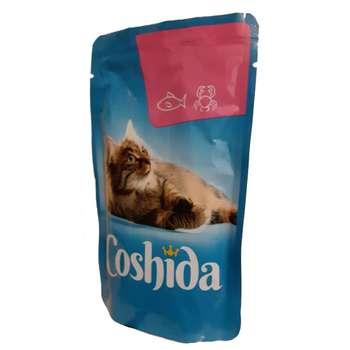 پوچ گربه کوشیدا مدل salmon & crab وزن 100 گرم