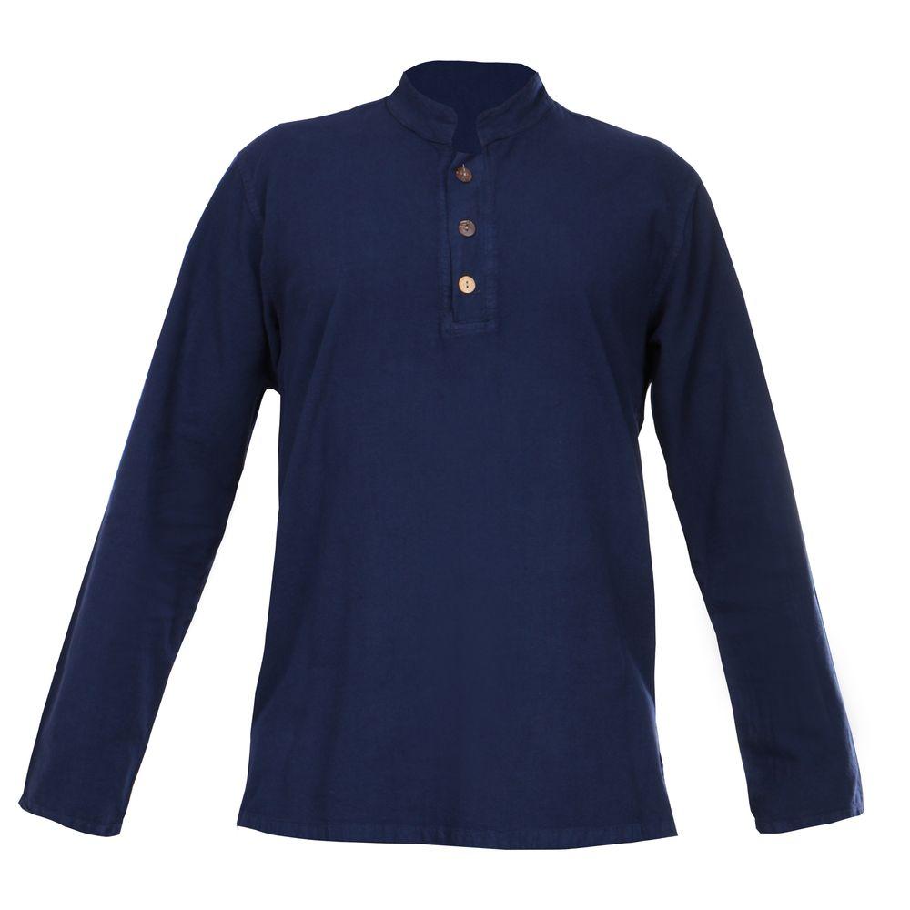 پیراهن آستین بلند مردانه کد P.3D.S.04 رنگ سرمه ای