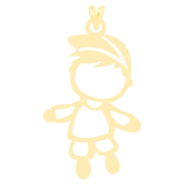 آویز گردنبند طلا 18 عیار زنانه کرابو طرح پسر بچه مدل Kr3664