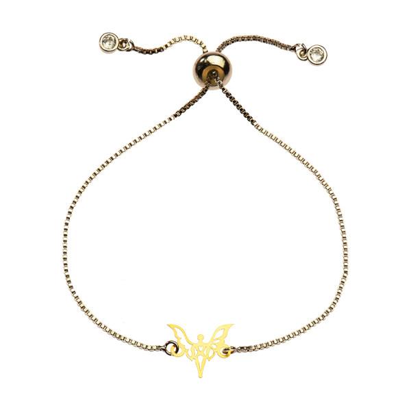 دستبند طلا 18 عیار دخترانه کرابو طرح فرشته مدل Krd1083