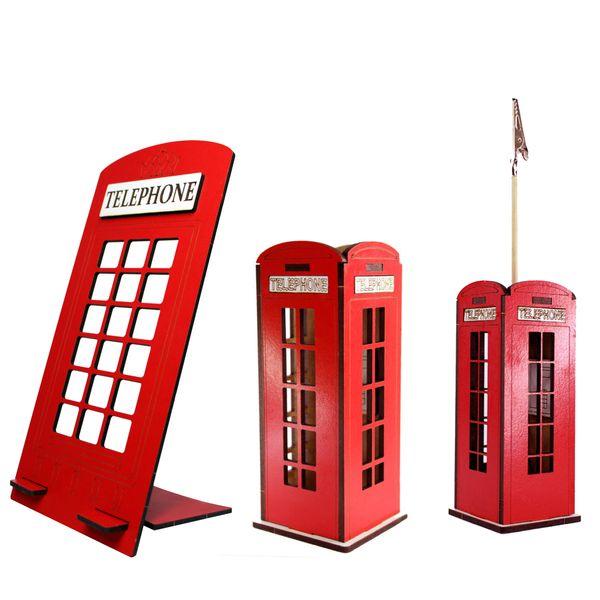 ست لوازم اداری رومیزی مدل تلفن انگلیسی کد TELR100 مجموعه 3 عددی