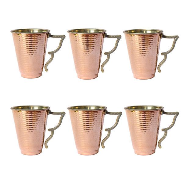 لیوان مسی مدل مخروطی بسته 6 عددی