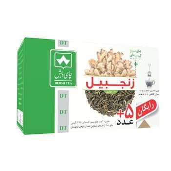 چای سبز کیسه ای با زنجبیل چای دبش بسته 25 عددی