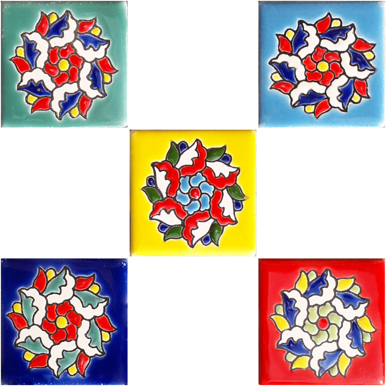 مگنت طرح گل کاشی کد 0249 بسته 5 عددی
