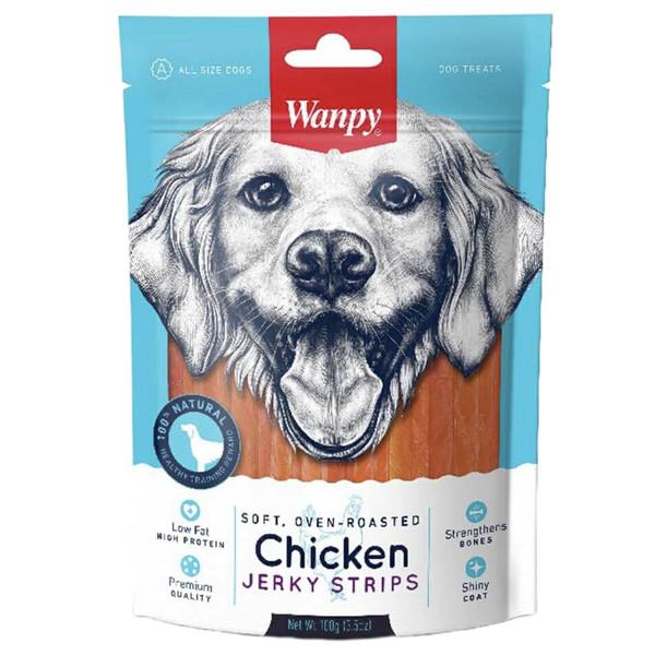 غذای تشویقی سگ ونپی مدل chicken jerky strips وزن 100 گرم