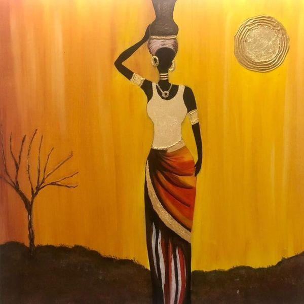 تابلو نقاشی رنگ روغن طرح زن آفریقایی کد ۱۰۳