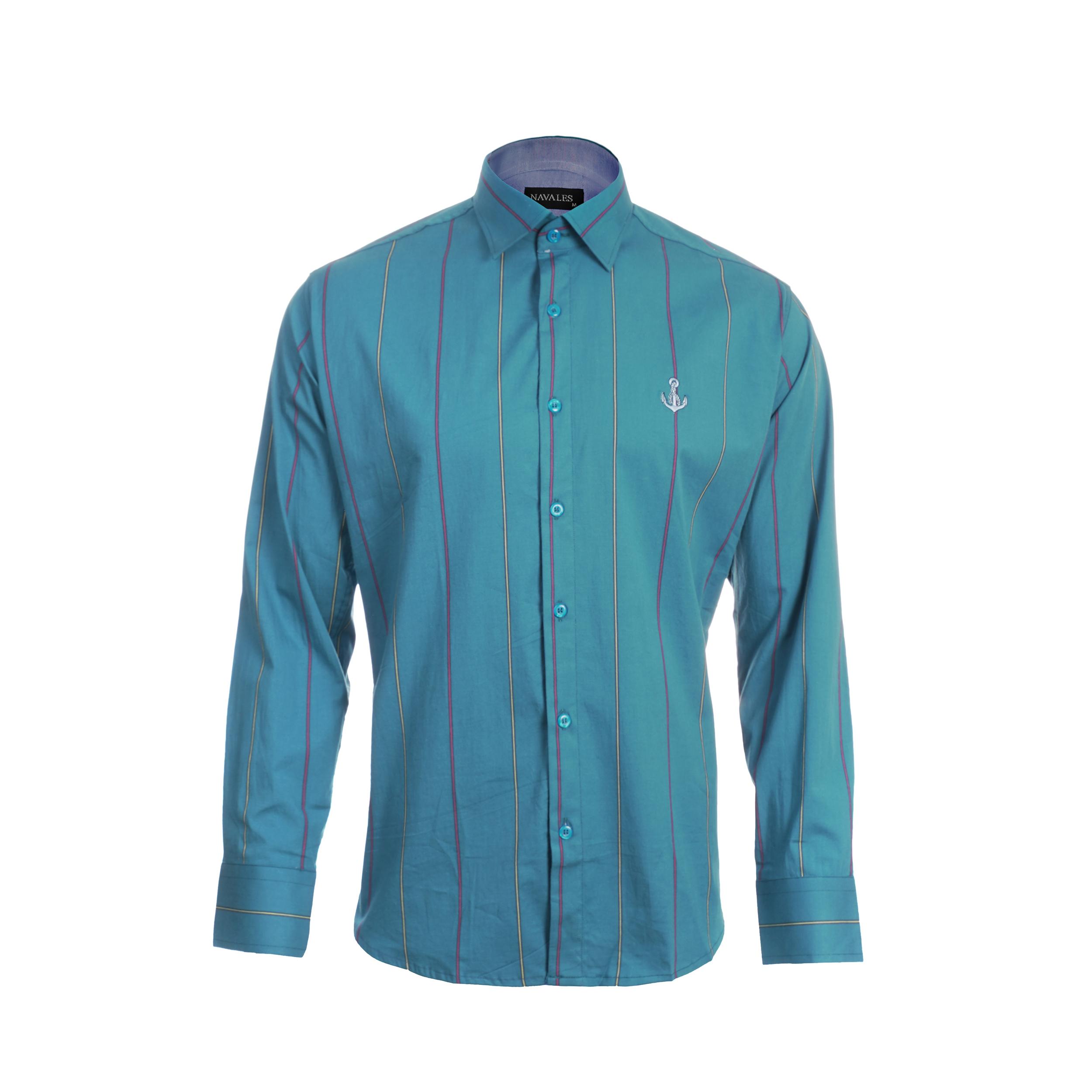 پیراهن آستین بلند مردانه ناوالس مدل Medad-Rangi-