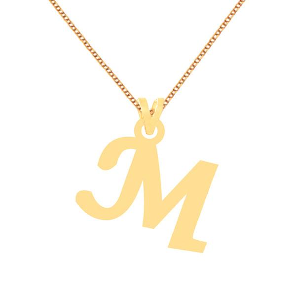 گردنبند طلا 18 عیار زنانه کرابو طرح M مدل Kr70314
