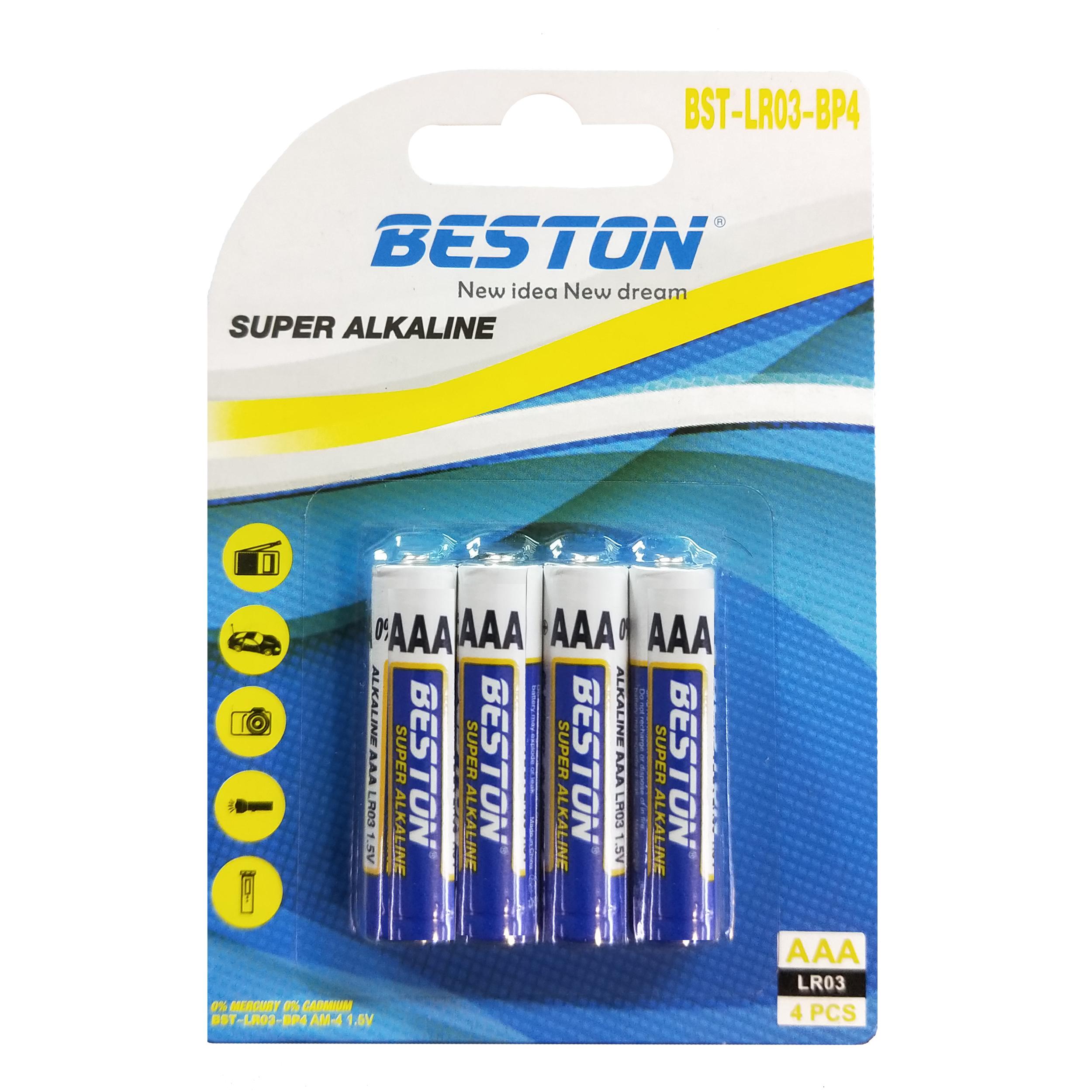 بررسی و {خرید با تخفیف} باتری نیم قلمی بستون مدل LR-03 بسته 4 عددی اصل